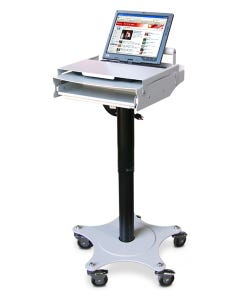 Afc Industries Height-Adjustable Point of Care Cart w/ Laptop Lock & Round Base Footprint