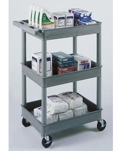 Luxor 40.5 in. High 3-Shelf Tub Utility Cart w/ 4 in. Casters