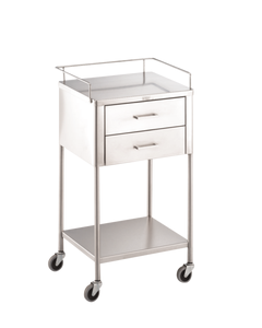 Blickman George Anesthesia Utility Table with Shelf, 2 Drawers, 227754000
