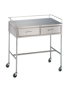 Blickman 7856SS Crescent Utility Table with Shelf, Rail, 2 Drawers, 317856000