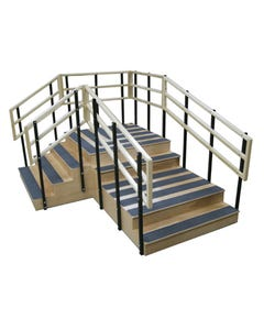 "Bailey 4535 Bariatric Training Stairs, Right Angle, 48"" Wide, Two Platforms, 1000 LB Cap"