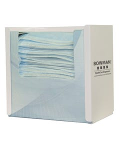 Bowman FB-091 Face Mask Dispenser - Tie Style - White Powder Coated Steel