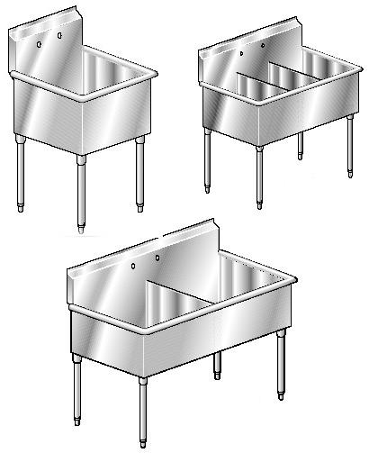 Aero 3S Series Square Corner Stainless Steel Non NSF Sink