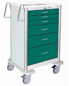 Waterloo 6 Drawer, Extra-Tall, Lightweight Aluminum Anesthesia Cart W/ 5 in. Casters