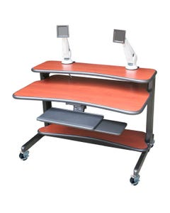AFC Industries IC483036-E 36 inch High IntelliCart w/ Height-Adjustable Work Surface and Bottom Shelf