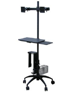 AFC Industries PC-2MKC Height-Adjustable Pole Cart w/ Dual-Monitor Arms