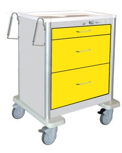 Waterloo Aluminum 3 Drawer, Light-Gray Isolation Cart W/ 5 in. Casters