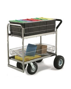 Charnstrom M262-R Medium Wire Basket Mail Cart w/ Caster Options
