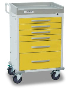 Detecto Rescue Series Isolation Medical Cart with 5 Yellow Drawers RC33669YEL