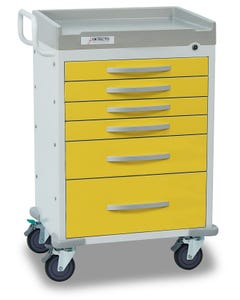 Detecto Rescue Series Isolation Medical Cart with 6 Yellow Drawers RC333369YEL