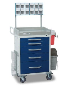 Detecto Loaded Rescue Series Anesthesiology Medical Cart with 5 Blue Drawers RC33669BLU-L