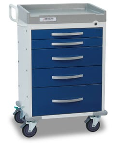Detecto Rescue Series Anesthesiology Medical Cart with 5 Blue Drawers RC33669BLU