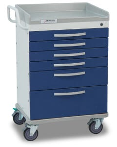 Detecto Whisper Series Anesthesiology Medical Cart with 6 Blue Drawers WC333369BLU