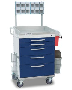 Detecto Loaded Whisper Series Anesthesiology Medical Cart with 5 Blue Drawers WC33669BLU-L