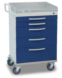 Detecto Whisper Series Anesthesiology Medical Cart with 5 Blue Drawers WC33669BLU