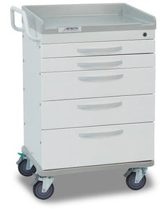 Detecto Whisper Series General Purpose Medical Cart with 5 White Drawers WC33669WHT