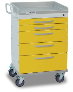 Detecto WC33669YEL Whisper Series Isolation Medical Cart, 5 Yellow Drawers