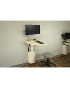 Right Height Manufacturing R11273 StableRise Wall Workstation with Shark Fin Top and Monitor Arm