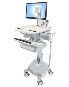 Ergotron SV42-3312-1 StyleView Cart with LCD Pivot, LiFe Powered, 1 Drawer