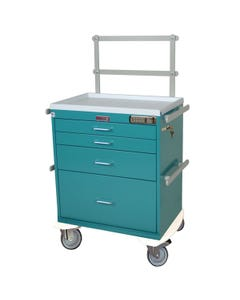 Harloff Classic Series Four Drawers Workstation Anesthesia Cart with Basic Electronic Pushbutton Lock and Specialty Package