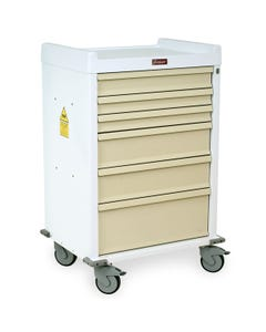 Harloff Aluminum Six Drawers MR-Conditional Anesthesia Cart with Key Lock - Standard Package