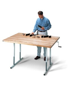 Hausmann 4326 Deluxe Crank Hi-Lo Butcher Block Work Table