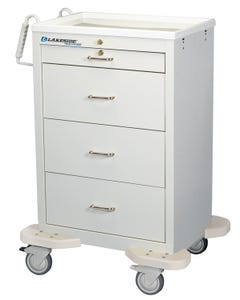 Lakeside Model C-430-K-1TW Punch Card Medication Cart W/ 4 Drawers