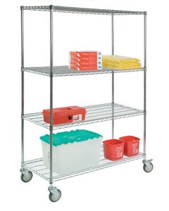 Lakeside Round Post Wire 4-Shelf Carts