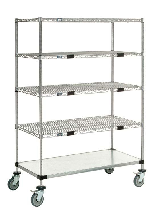 Nexel Exchange & Linen Transport Truck - 4 Wire Shelvess & 1 Solid Shelf
