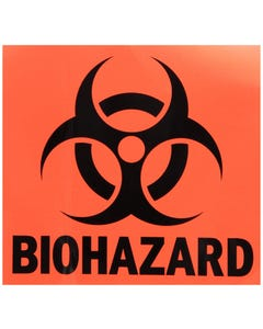 "Rubbermaid FGBP1 Biohazard Cab Label, Red, 6"" Square"