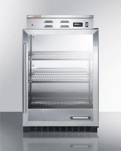 Summit Appliance PHC61G Single chamber warming cabinet with glass door, stainless steel interior, digital thermostat, and lock