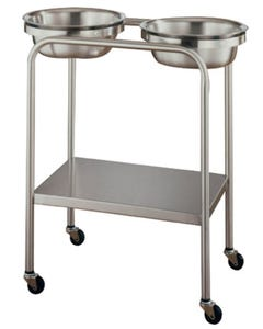 UMF Medical SS8360 Stainless Steel Double Basin Stand with Shelf